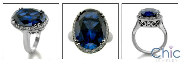Estate 8.5 Sapphire Oval Pave Halo Cubic Zirconia Cz Ring