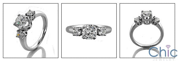 3 Stone 1.15 TCW Round in Prongs Cubic Zirconia Cz Ring