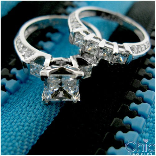 Engagement Princess 1.25 Center Channel Ct Pave Cubic Zirconia Cz Ring
