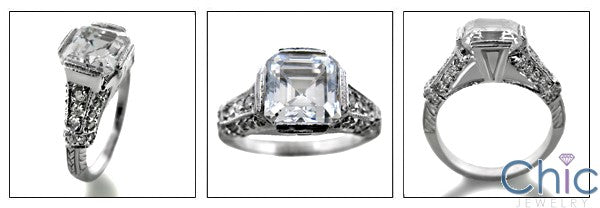 Engagement 2 Ct Asscher .75 Ct Pave Cubic Zirconia Cz Ring