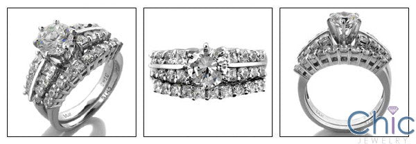 Matching Set Round 1 Ct Center 1.5 TCW Cubic Zirconia Cz Ring