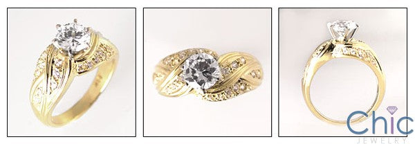 Anniversary 1 Carat Round Cubic Zirconia 14K Yellow Gold Pave Ring