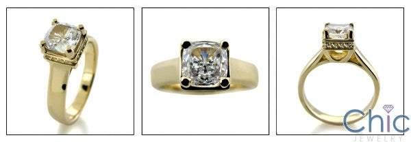 Engagement 1 Ct Cushion Lucida Yellow Gold Cubic Zirconia Cz Ring