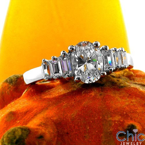 Engagement 1 Ct Oval Ct Baguettes Cubic Zirconia Cz Ring