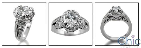 1.25 Oval High Quality Cubic Zirconia Center Halo Pave 14K White Gold Engagement Ring