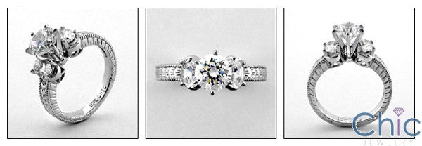 Engagement Brilliant 1 Ct Cubic Zirconia Engraved shank Cubic Zirconia Cz Ring