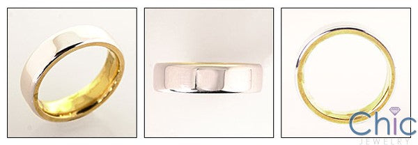 Mens Two Tone Gold Comfort Fit Band