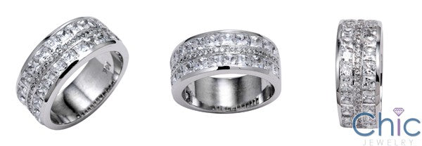 Mens 9 MM Channel Princess Cubic Zirconia CZ Wedding Band