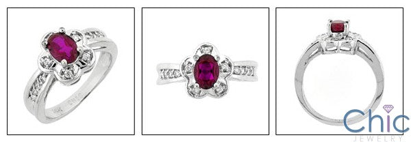 Fine Jewelry Oval Ruby Flower Pave Cubic Zirconia Cz Ring