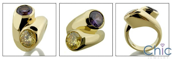 Anniversary Canary Ct Amethyst Bezel Cubic Zirconia Cz Ring