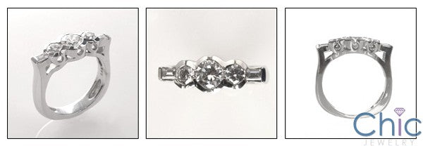 Round Baguettes Euro Shank Channel Set Cubic Zirconia 14K White Gold Ring