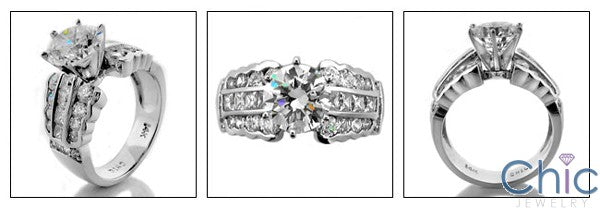Engagement Round 2 Ct Channel Set Princess Round Cubic Zirconia Cz Ring