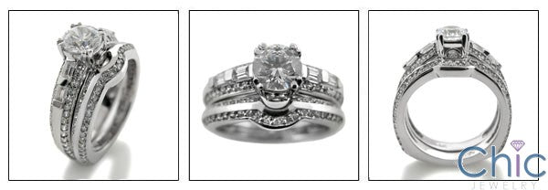 Matching Engagement Cubic Zirconia Ring and Band Set .75 Round Center Pave  Channel Euro Shank 14K White Gold