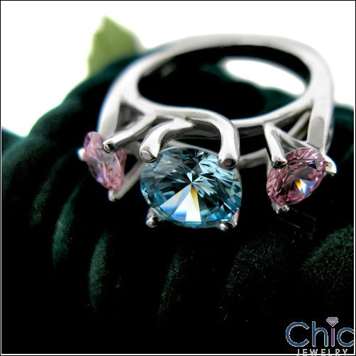 Anniversary Pink Ct Blue Diamond Color Cubic Zirconia Cz Ring
