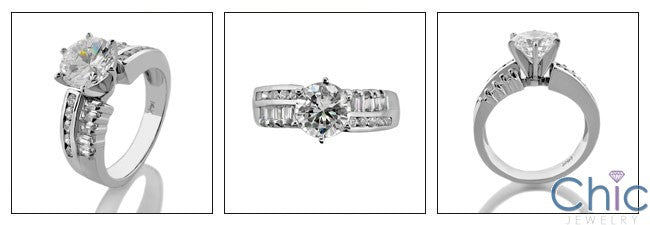 Engagement 1.5 Round Brilliant Cubic Zirconia Ct channel Cubic Zirconia Cz Ring