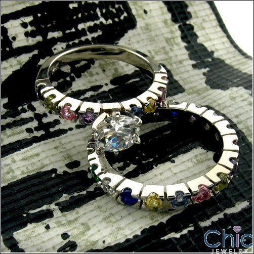 Matching Set 1 Ct Round Center Multi Color Cubic Zirconia Cz Ring