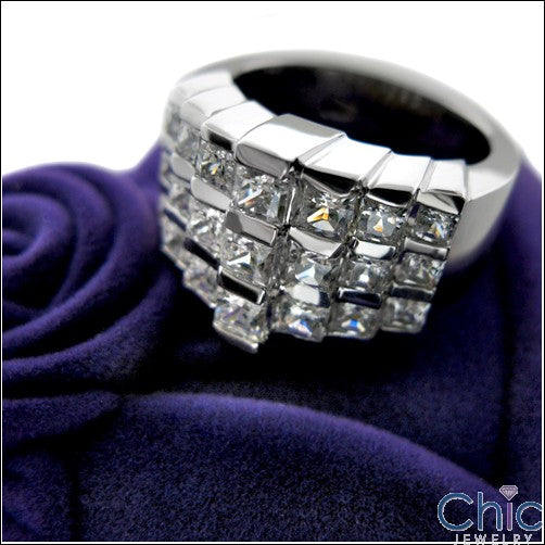 Anniversary Wide 13MM Princess In Channel Cubic Zirconia Cz Ring