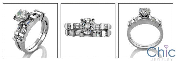Matching Set 1 Ct Round 4 Prong Channel Cubic Zirconia Cz Ring