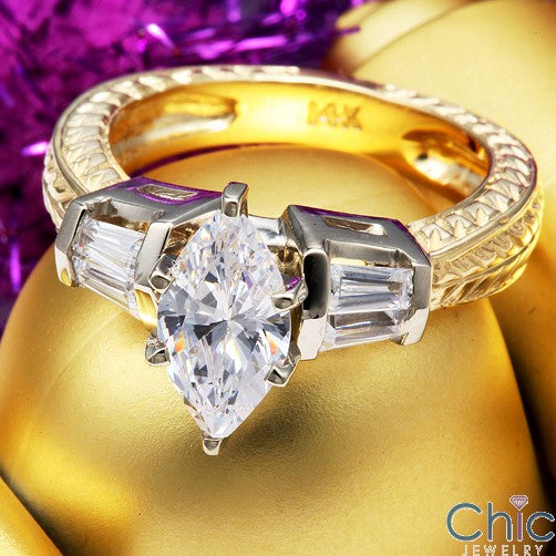 Engagement 1.25 Marquise Channel Baguettes Two Tone Shank Cubic Zirconia Cz Ring