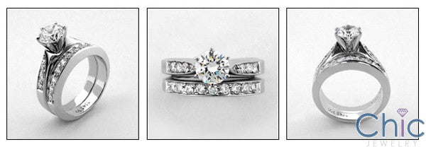 Matching Set 1 Ct Round Center Pave Cubic Zirconia Cz Ring