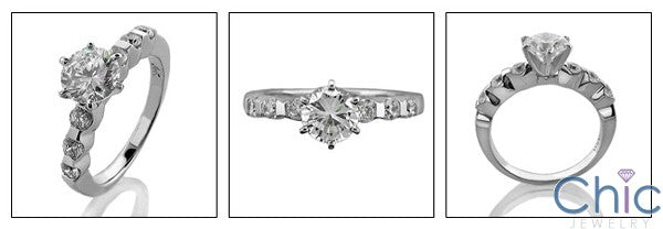 Engagement Round 1 Ct Center Channel Round Cubic Zirconia Cz Ring
