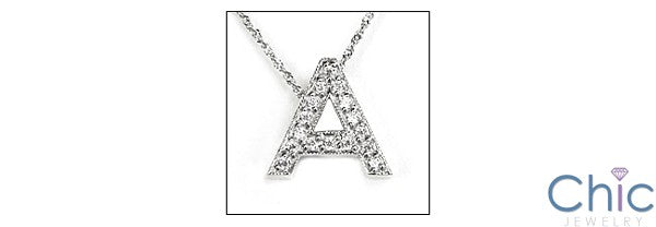 Cubic Zirconia Cz Alphabet Letter in White gold Initial Pendant