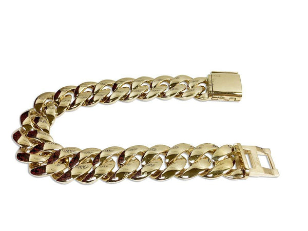 Cuban Link Bracelet For Men 14K Yellow Gold  8 inches Long