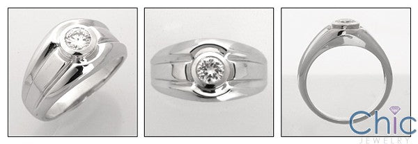 Mens .75 Round Single Stone in Bezel Cubic Zirconia CZ Wedding Band