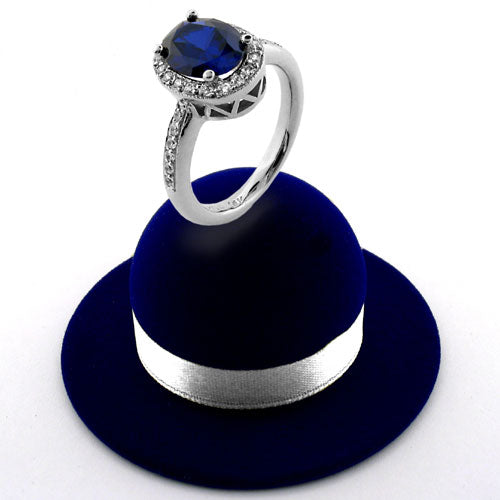 Engagement 2.5 Oval Royal Sapphire Halo Pave Cubic Zirconia Cz Ring