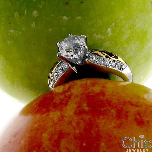Engagement Brilliant 1 Ct wuth Two Tone Inlay Cubic Zirconia Cz Ring