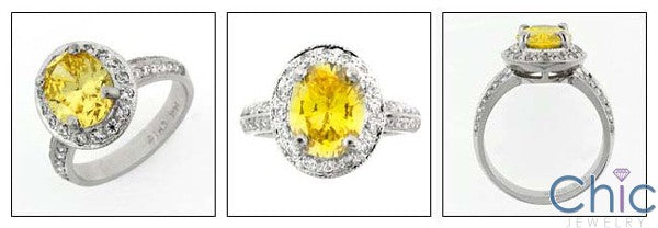 Estate 3 Ct Canary Oval in Halo Cubic Zirconia Cz Ring