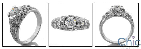Estate 0.65 Round Center Pave Ct Bezel Cubic Zirconia Cz Ring