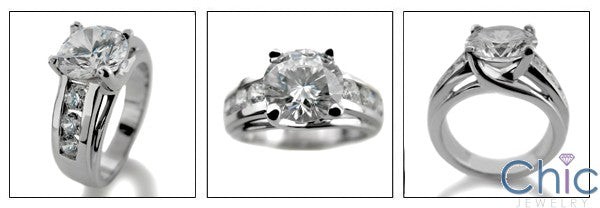 Engagement 2.5 Round Lucida Channel d Cubic Zirconia Cz Ring