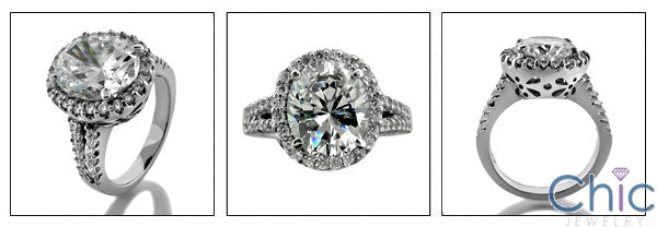 Estate 5 Ct Oval Center Pave Halo Cubic Zirconia Cz Ring