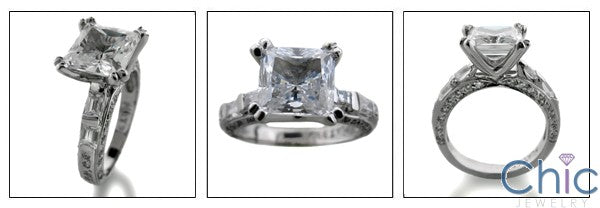 Engagement 2 Ct Square Princess Center Channel Pave Cubic Zirconia Cz Ring