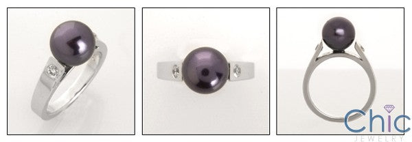 9mm Black Synthetic Pearl Cubic Zirconia 14K White Gold Ring