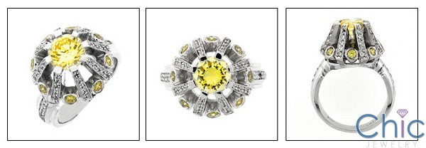 Estate ArT Deco Style Round canary Cubic Zirconia Cz Ring