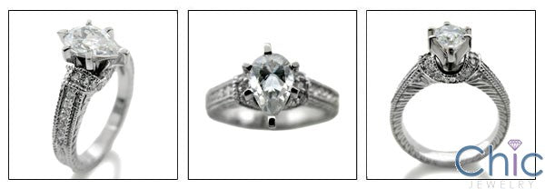 Engagement 1 Ct Pear Center Engraved Shank Cubic Zirconia Cz Ring