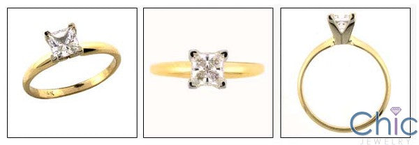 Solitaire Princess .75 Tiffany Skinny Cubic Zirconia Cz Ring