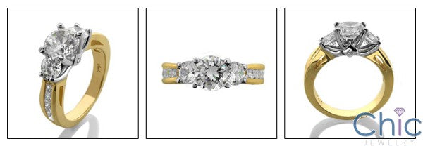 Engagement 1.25 Round Two Tone Channel Princess Cubic Zirconia Cz Ring
