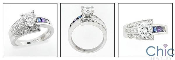 .75 Round Center Channel and Pave Cubic Zirconia 14K White Gold Ring