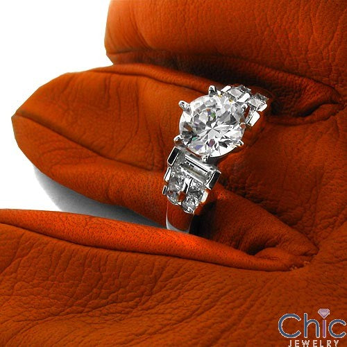 Engagement Round 2 Ct In 6 Prong Tiffany Setting Cubic Zirconia Cz Ring