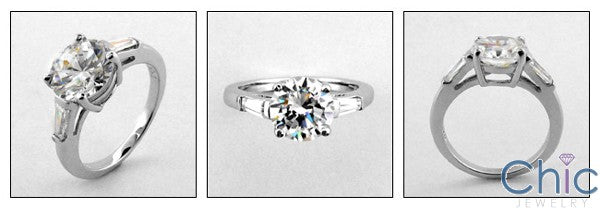 3 Stone 2.25 Round Center Tapered Baguettes Cubic Zirconia Cz Ring