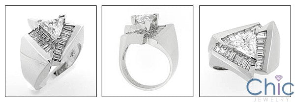 Anniversary 2 Ct Triangle Center Channel Baguettes Cubic Zirconia Cz Ring