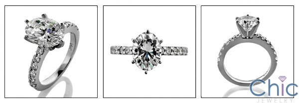 Engagement Oval 2 Ct Tiffany Prong Ct Pave Cubic Zirconia Cz Ring