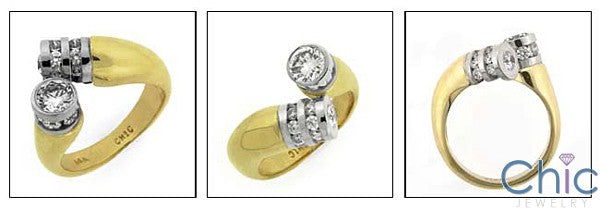 Fine Jewelry Two tone Tubular Ring Cubic Zirconia Cz Ring