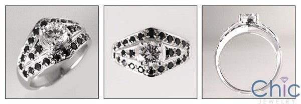 Anniversary Round Center Cubic Zirconia Black Pave Cz Ring 14K White Gold