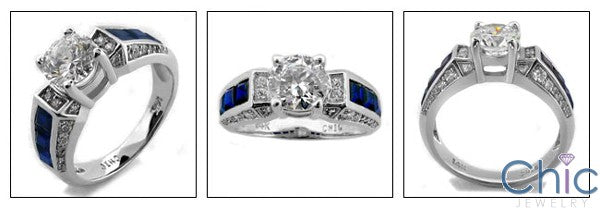 Engagement Round 1 Ct Center Sapphire Princess Channel Cubic Zirconia Cz Ring
