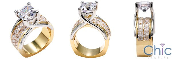 Engagement 2.5 Ct Asscher Two Tone Invisible Set Princess Cubic Zirconia Cz Ring