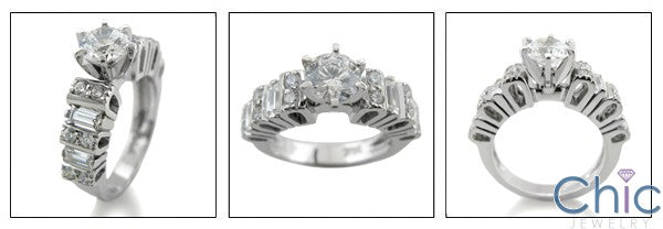 Engagement Round Center 6 Prong Tiffany channel Cubic Zirconia Cz Ring